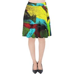 Yellow Dolphins   Blue Lagoon 3 Velvet High Waist Skirt
