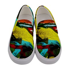Yellow Dolphins   Blue Lagoon 3 Women s Canvas Slip Ons