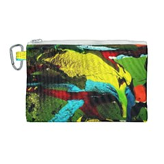 Yellow Dolphins   Blue Lagoon 3 Canvas Cosmetic Bag (large) by bestdesignintheworld