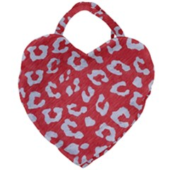Skin5 White Marble & Red Colored Pencil (r) Giant Heart Shaped Tote
