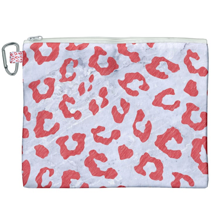 SKIN5 WHITE MARBLE & RED COLORED PENCIL Canvas Cosmetic Bag (XXXL)