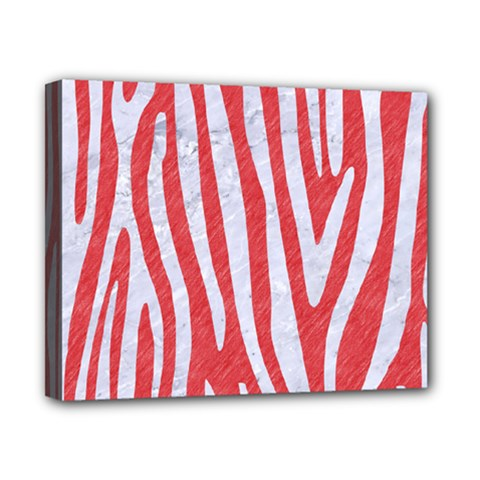 Skin4 White Marble & Red Colored Pencil (r) Canvas 10  X 8  by trendistuff