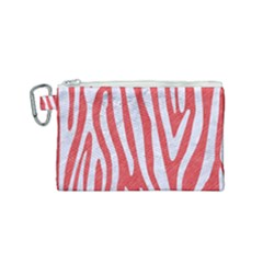 Skin4 White Marble & Red Colored Pencil (r) Canvas Cosmetic Bag (small)