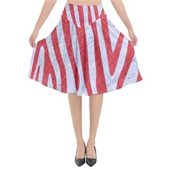 Skin4 White Marble & Red Colored Pencil Flared Midi Skirt