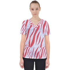 Skin3 White Marble & Red Colored Pencil (r) Scrub Top