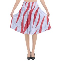 Skin3 White Marble & Red Colored Pencil (r) Flared Midi Skirt