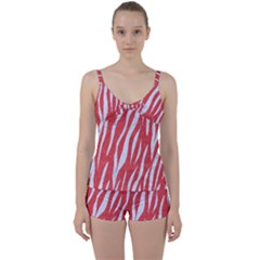 Skin3 White Marble & Red Colored Pencil Tie Front Two Piece Tankini