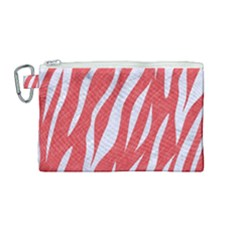 Skin3 White Marble & Red Colored Pencil Canvas Cosmetic Bag (medium) by trendistuff