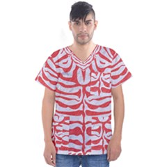 Skin2 White Marble & Red Colored Pencil (r) Men s V Neck Scrub Top