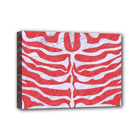 Skin2 White Marble & Red Colored Pencil Mini Canvas 7  X 5  by trendistuff