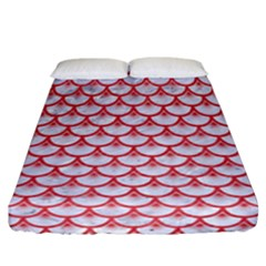 Scales3 White Marble & Red Colored Pencil (r) Fitted Sheet (california King Size) by trendistuff