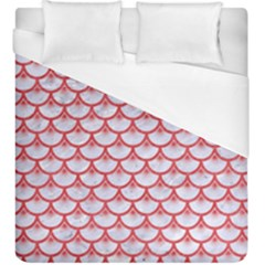 Scales3 White Marble & Red Colored Pencil (r) Duvet Cover (king Size) by trendistuff