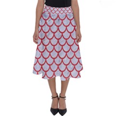 Scales1 White Marble & Red Colored Pencil (r) Perfect Length Midi Skirt