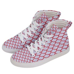 Scales1 White Marble & Red Colored Pencil (r) Women s Hi Top Skate Sneakers by trendistuff