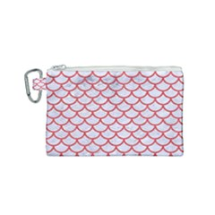 Scales1 White Marble & Red Colored Pencil (r) Canvas Cosmetic Bag (small) by trendistuff