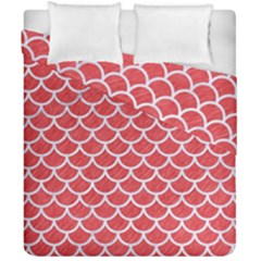 Scales1 White Marble & Red Colored Pencil Duvet Cover Double Side (california King Size) by trendistuff
