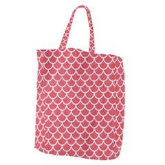 Scales1 White Marble & Red Colored Pencil Giant Grocery Zipper Tote by trendistuff