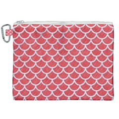 Scales1 White Marble & Red Colored Pencil Canvas Cosmetic Bag (xxl) by trendistuff