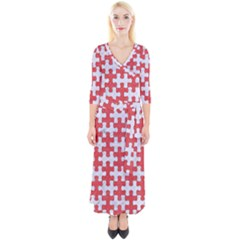Puzzle1 White Marble & Red Colored Pencil Quarter Sleeve Wrap Maxi Dress