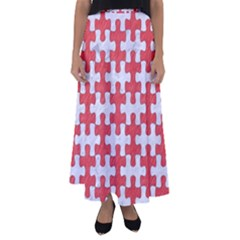 Puzzle1 White Marble & Red Colored Pencil Flared Maxi Skirt by trendistuff