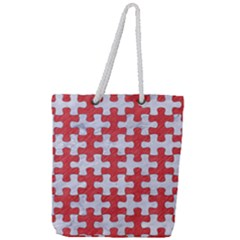 Puzzle1 White Marble & Red Colored Pencil Full Print Rope Handle Tote (large) by trendistuff