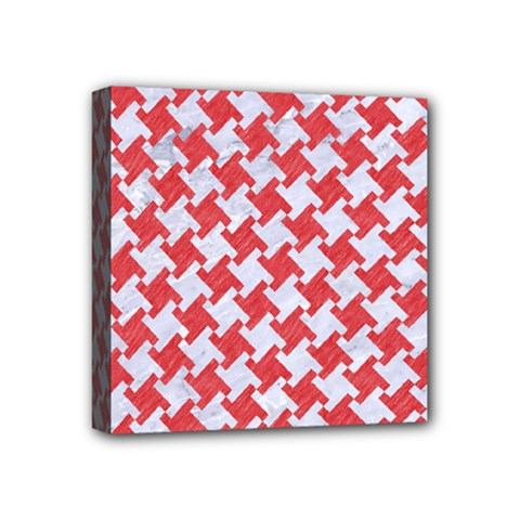 Houndstooth2 White Marble & Red Colored Pencil Mini Canvas 4  X 4