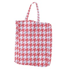 Houndstooth1 White Marble & Red Colored Pencil Giant Grocery Zipper Tote by trendistuff