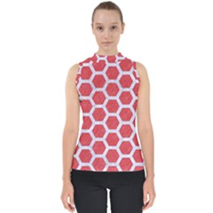 Hexagon2 White Marble & Red Colored Pencil Shell Top