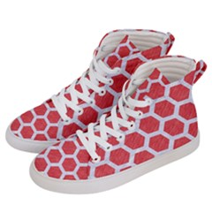 Hexagon2 White Marble & Red Colored Pencil Men s Hi Top Skate Sneakers by trendistuff