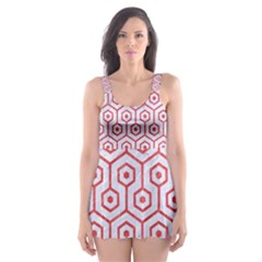 Hexagon1 White Marble & Red Colored Pencil (r) Skater Dress Swimsuit