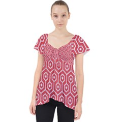 Hexagon1 White Marble & Red Colored Pencil Lace Front Dolly Top