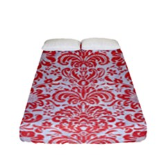 Damask2 White Marble & Red Colored Pencil (r) Fitted Sheet (full/ Double Size) by trendistuff