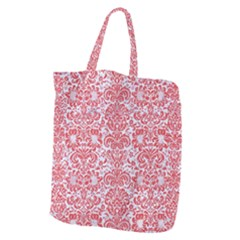Damask2 White Marble & Red Colored Pencil (r) Giant Grocery Zipper Tote by trendistuff