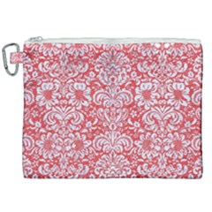 Damask2 White Marble & Red Colored Pencil Canvas Cosmetic Bag (xxl) by trendistuff
