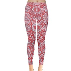 Damask2 White Marble & Red Colored Pencil Inside Out Leggings by trendistuff