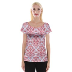 Damask1 White Marble & Red Colored Pencil (r) Cap Sleeve Tops