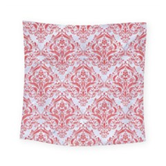 Damask1 White Marble & Red Colored Pencil (r) Square Tapestry (small) by trendistuff