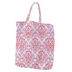 Damask1 White Marble & Red Colored Pencil (r) Giant Grocery Zipper Tote by trendistuff