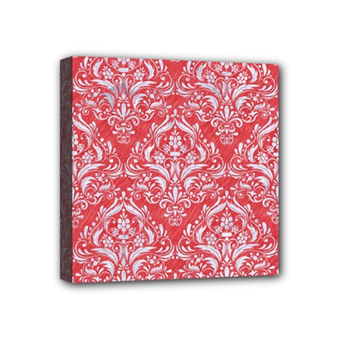 Damask1 White Marble & Red Colored Pencil Mini Canvas 4  X 4