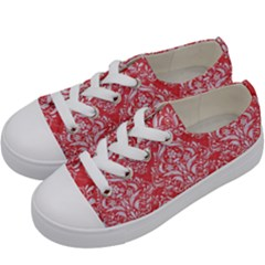 Damask1 White Marble & Red Colored Pencil Kids  Low Top Canvas Sneakers by trendistuff