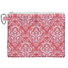 Damask1 White Marble & Red Colored Pencil Canvas Cosmetic Bag (xxl) by trendistuff