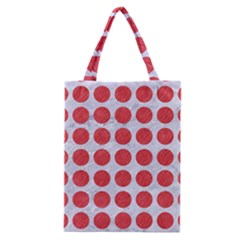 Circles1 White Marble & Red Colored Pencil (r) Classic Tote Bag by trendistuff