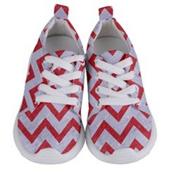 Chevron9 White Marble & Red Colored Pencil (r) Kids  Lightweight Sports Shoes