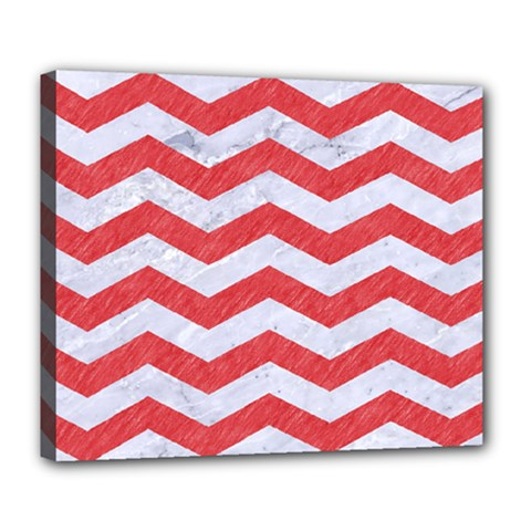Chevron3 White Marble & Red Colored Pencil Deluxe Canvas 24  X 20   by trendistuff
