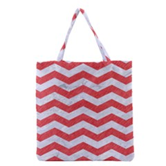 Chevron3 White Marble & Red Colored Pencil Grocery Tote Bag by trendistuff