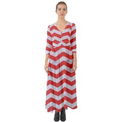 Chevron3 White Marble & Red Colored Pencil Button Up Boho Maxi Dress