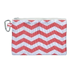 Chevron3 White Marble & Red Colored Pencil Canvas Cosmetic Bag (large) by trendistuff
