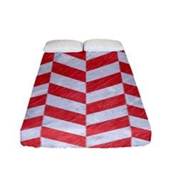 Chevron1 White Marble & Red Colored Pencil Fitted Sheet (full/ Double Size) by trendistuff
