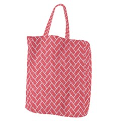 Brick2 White Marble & Red Colored Pencil Giant Grocery Zipper Tote by trendistuff