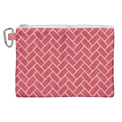 Brick2 White Marble & Red Colored Pencil Canvas Cosmetic Bag (xl)